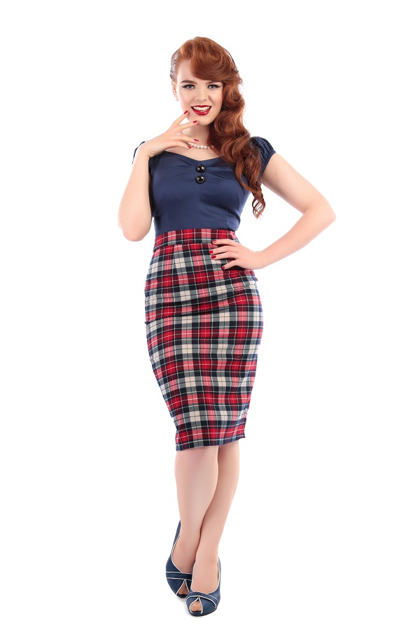 26916fe12 50's style pencil skirt - tartan check - Collectif Polly Sherwood sizes 14  to 18 (Cskirtw-150302a)